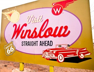 Winslow Arizona Town Sign