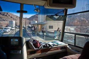 RV going over Hoover Dam