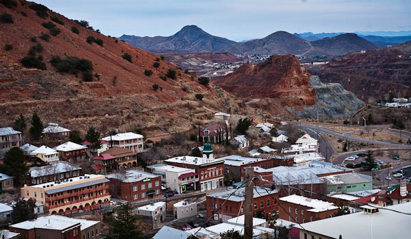 photo of downtown bisbee from above