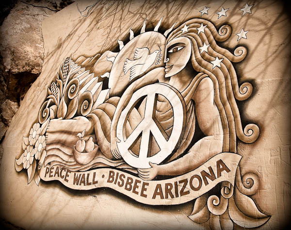 bisbee hippies peace wall