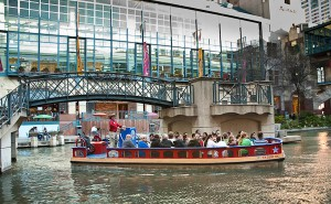 tour boat at shopping center on Riverwalk San Antonio