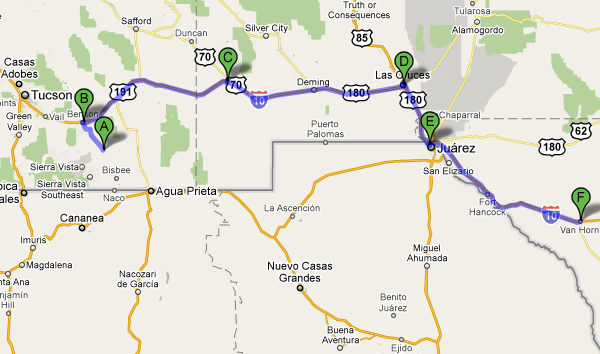 driving map from tombstone to van horn texas