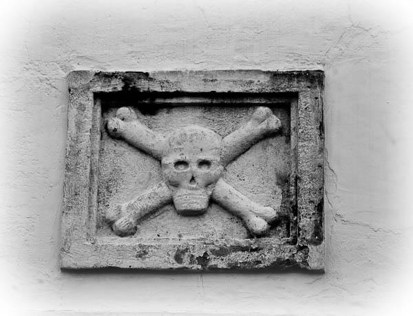 skull and crossbones at Mission Espiritu Santo