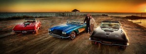 classic corvettes on the beach