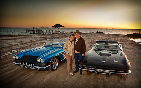 Classic Corvettes on the beach in portland texas