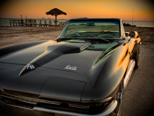 Black Corvette with Sunset