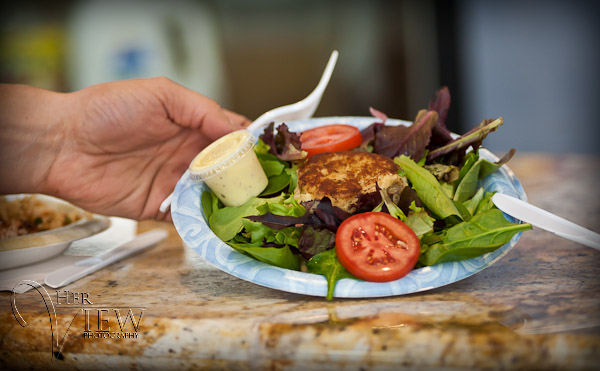 crab cakes and fresh organic greens