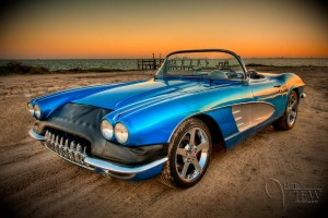 HDR Photograph of vintage corvette on beach in Corpus Christi