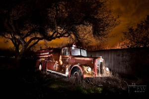 HDR Photograph of classic fire truck painted with light