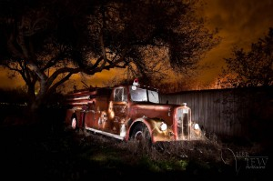 HDR Photograph of fire truck painted with light